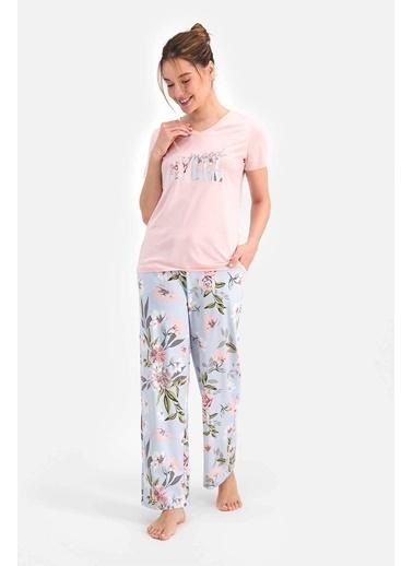 Arnetta Floral Pattern Toz Somon Kadın Kısa Kol Pijama Takımı Somon
